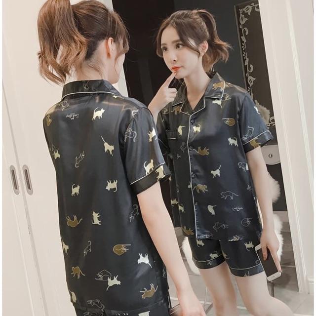Bộ ngủ Pyjama vải lụa cao cấp