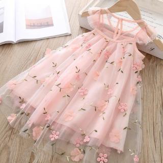 Đầm bé gái phối ren hoa không tay phong cách mùa hè