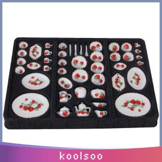 1/12 Dollhouse Miniature Kitchen Accessories 46pcs Vintage Porcelain Tea Cup Set