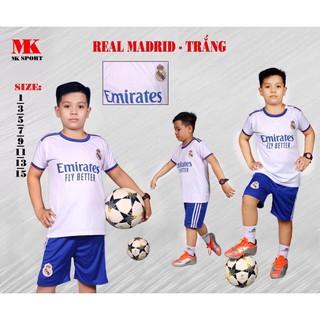 Bộ thể thao đá bóng Trẻ em.Người lớn CLB Real Madrid mùa giải mới 2021-2022