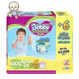 ( Tặng 6 Miếng ) Tã Quần Bobby Size XXXL – 24 Miếng