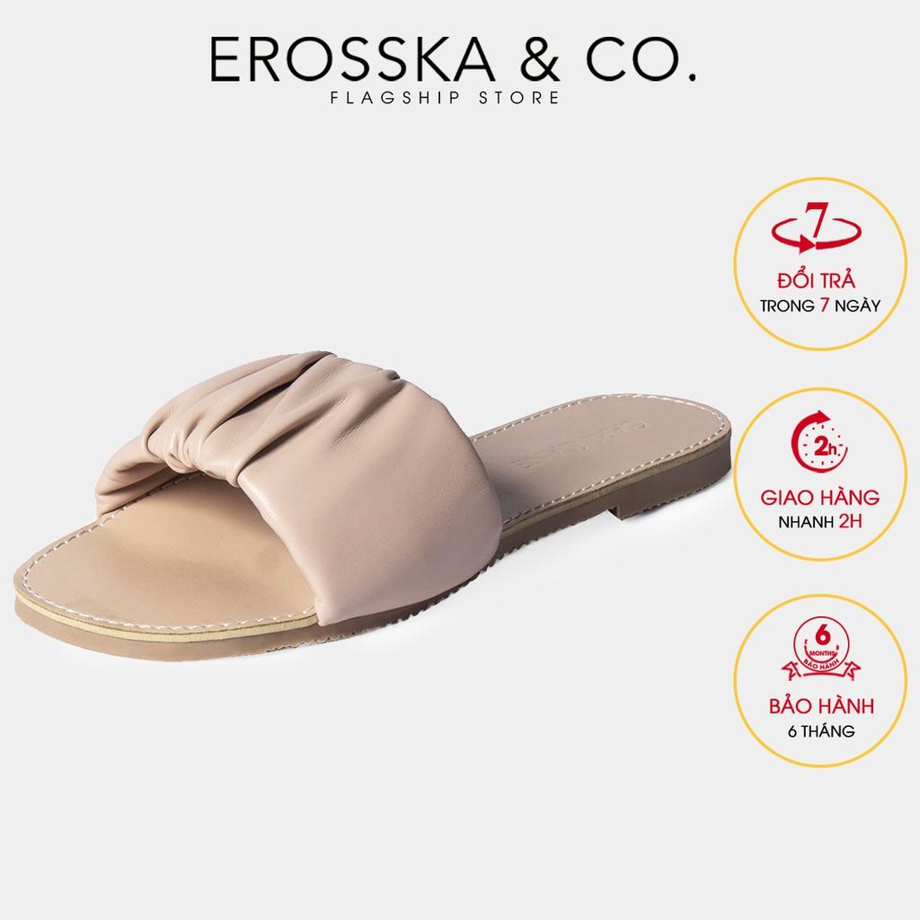 [Mã WABR151 giảm 10% đơn 99000] Dép nữ thời trang Erosska quai ngang nhún họa tiết màu trắng - DC002