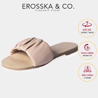 Dép nữ thời trang Erosska quai ngang nhún họa tiết đơn giản màu trắng - DC002
