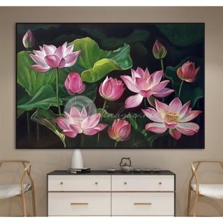 Tranh treo tường tranh CANVAS mẫu hoa sen kích thước 60* 80