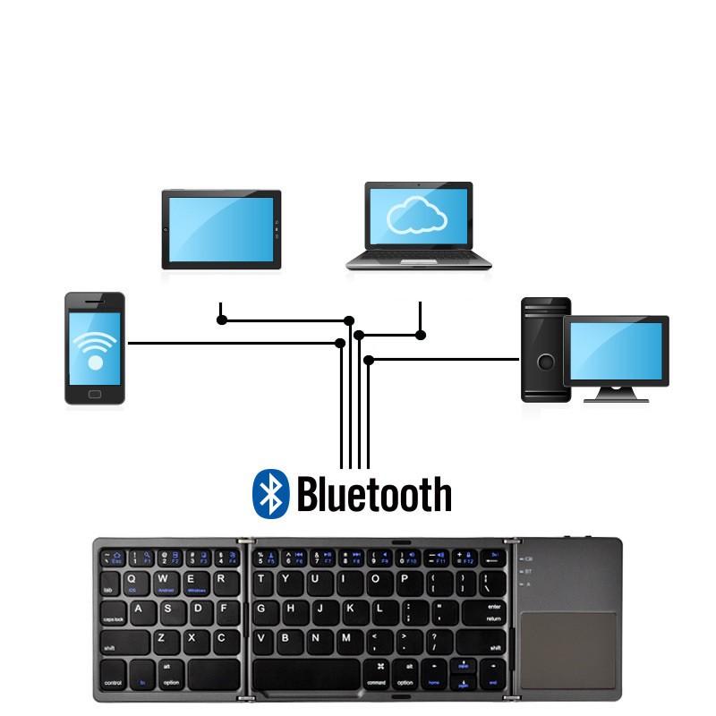 Bàn phím bluetooth  Freeship  bàn phím không dây có gấp gọn,bàn phím cơ êm ái + bh3 tháng