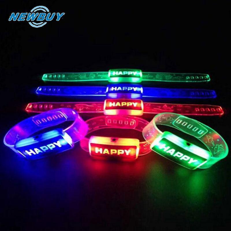 Plastic LED Lamp Luminous HAPPY Type Touch Screen Wrist Watch Strip Bracelet