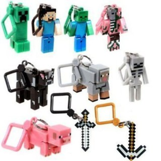 Official Minecraft 3` Toy Action Figure Hanger SET of 10 Includes: Steve ,
