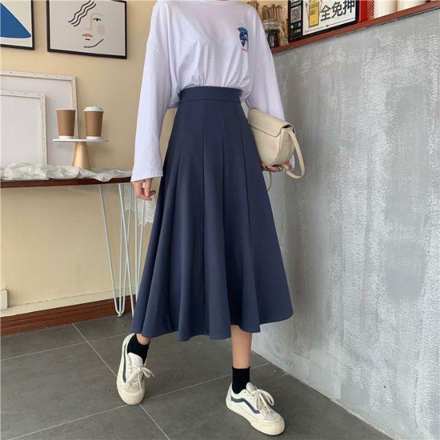 Yêu Thích🌻(Có sẵn) Váy mid-length cạp cao xuân hè ulzzang