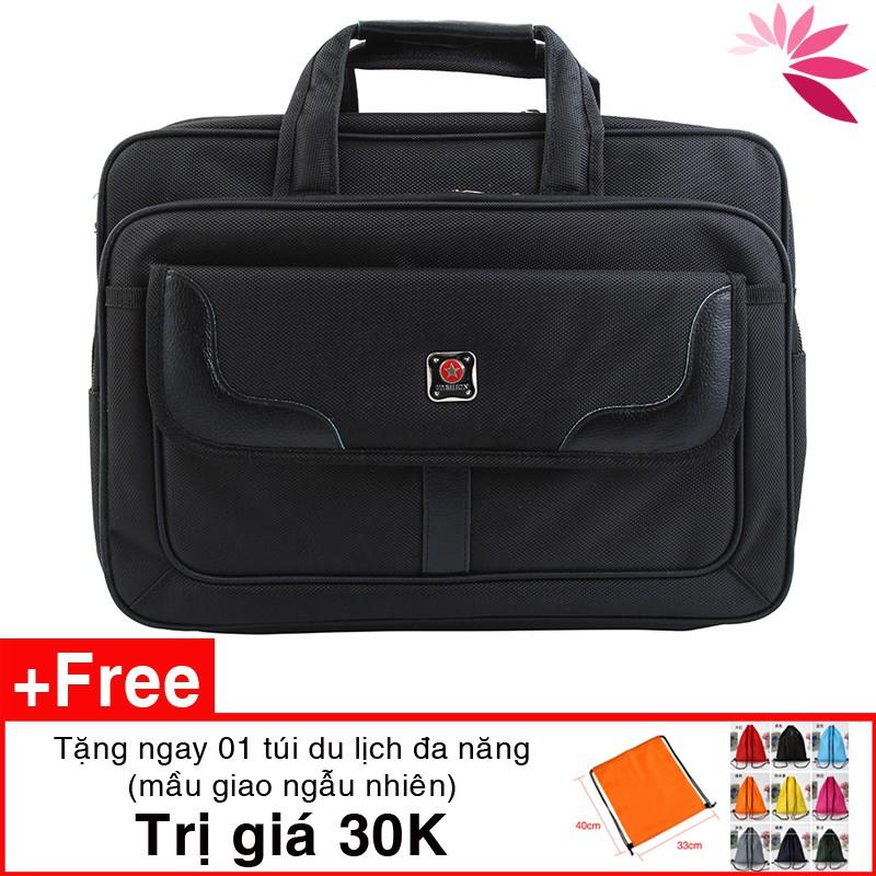 Cặp đựng laptop , túi đựng laptop sách vở tài liệu Sao Vàng C01 27 x 39 x 15cm vải đẹp, lót lụa tặng túi du lịch 30K