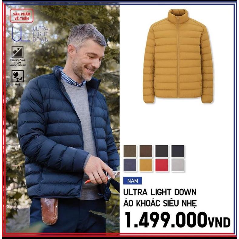 (UNIQLO Nhật chính hãng) NAM- Áo khoác phao lông vũ siêu nhẹ cổ trụ không mũ (UNIQLO MEN- Ultra Light Down Parka)