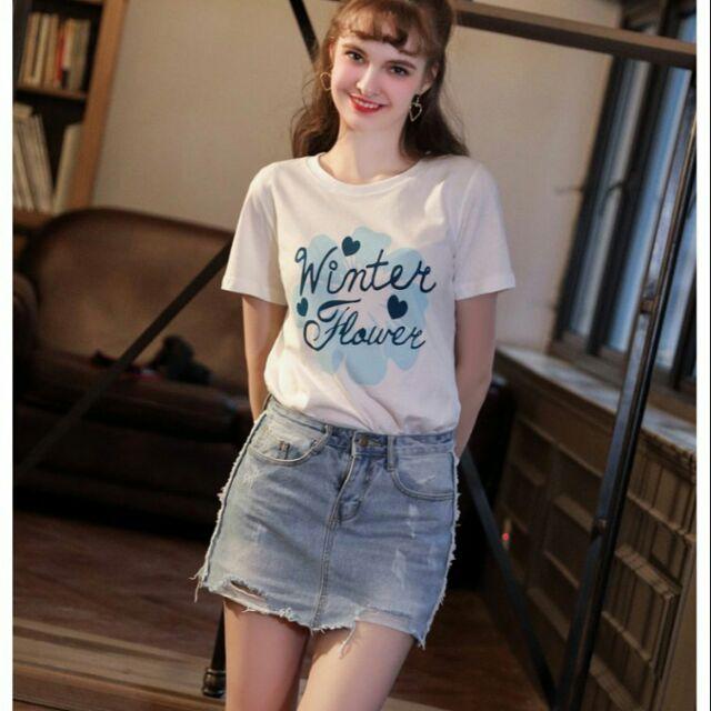 Áo thun cotton nữ tay ngắn in chữ cực xinh
