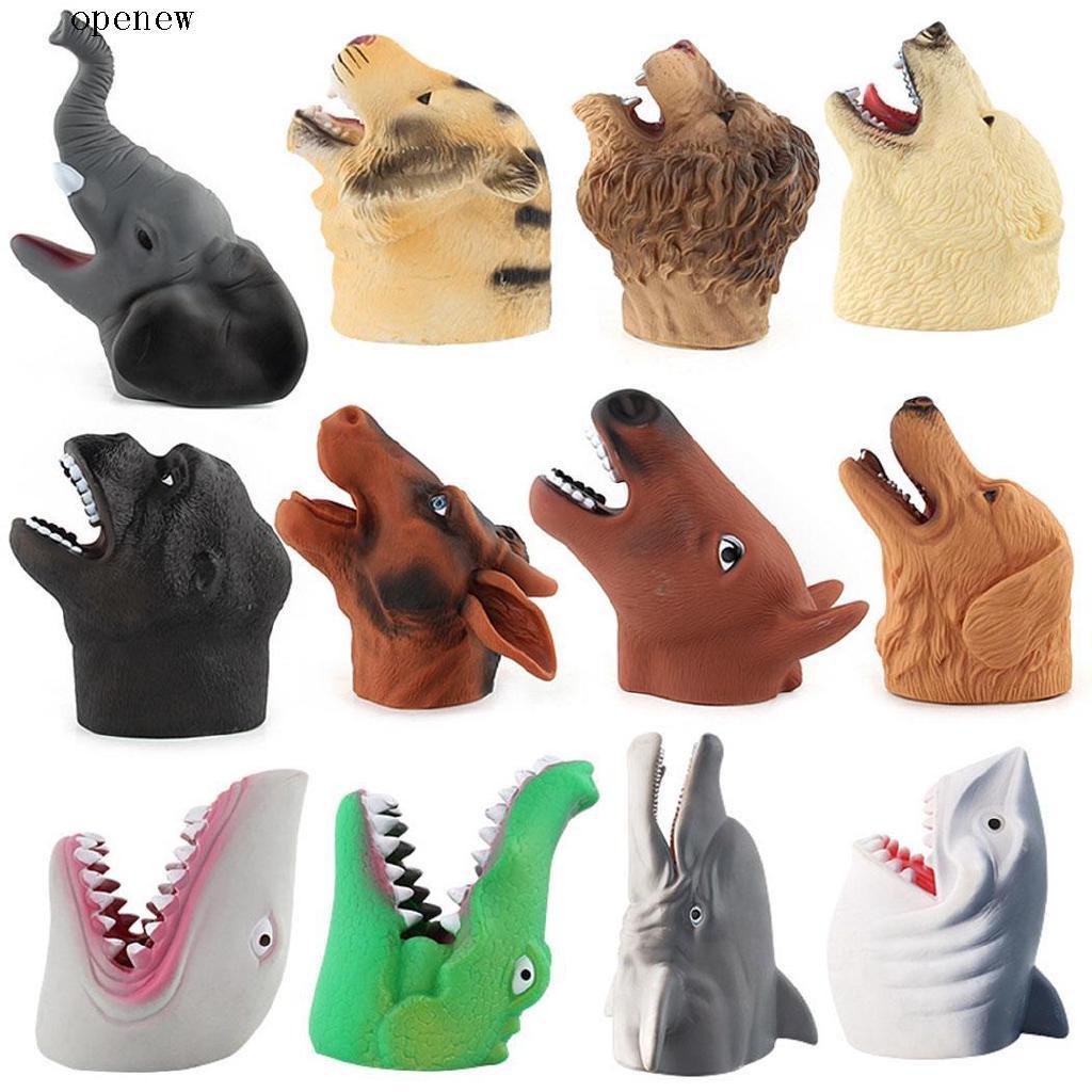 op New Kids Children Halloween Soft Rubber Animal Head Shape Hand Puppet Toys