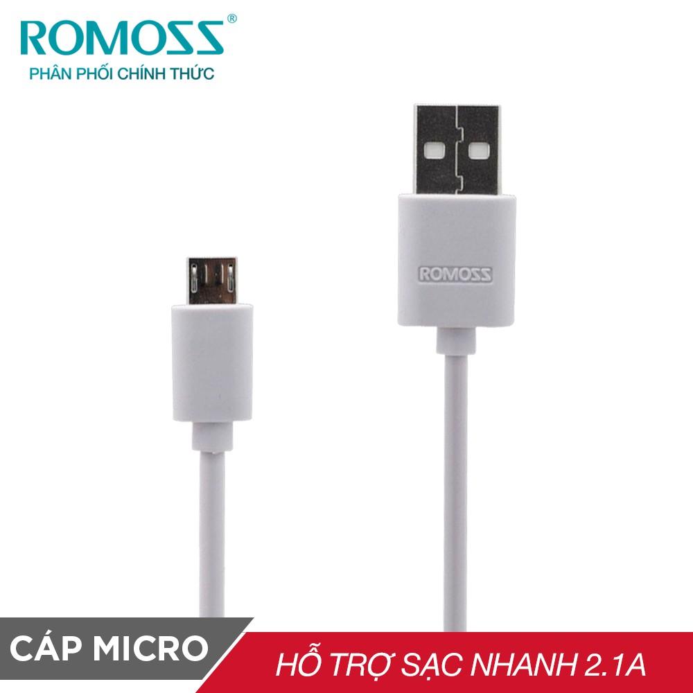 [Mã ELMALLMT giảm 8% đơn 900K] Cáp sạc điện thoại micro USB thường bản tròn Romoss dài 1m - Hãng phân phối chính thức