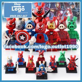 Xếp hình Lego Lợn Spider man Iron man Hulk Ant-man deadpool Captain America Marvel Lego Minifigures Koruit KT1023 thumbnail