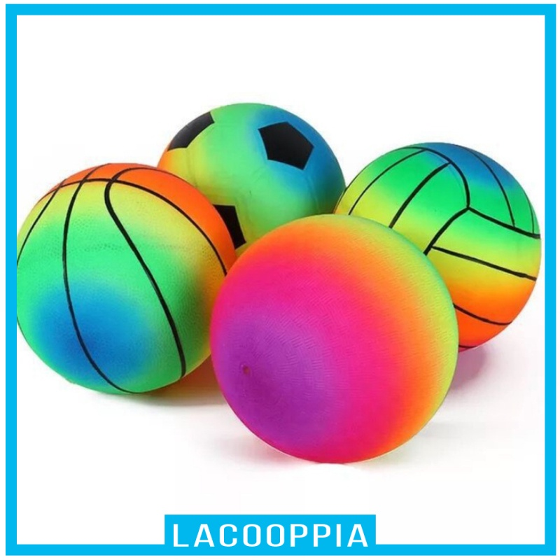 [LACOOPPIA] Child Sports Training Ball Rainbow Indoor Outdoor Toddlers Recreational Toy Ball