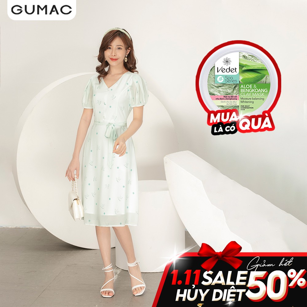 Đầm cổ V buột eo GUMAC