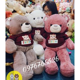 Gấu bông Teddy love 2 màu ghi hồng – Bông cao cấp mềm mịn – Kích thước 90cm-1m4
