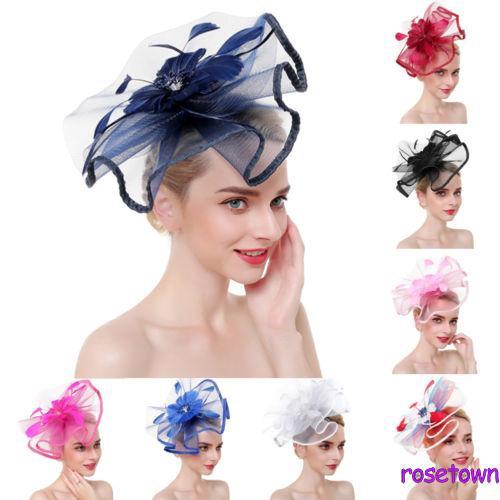 ☀UniWomen Ladies Elegant Flower Net Hat Hair Accessories Hat Dress Hat Glove Costume