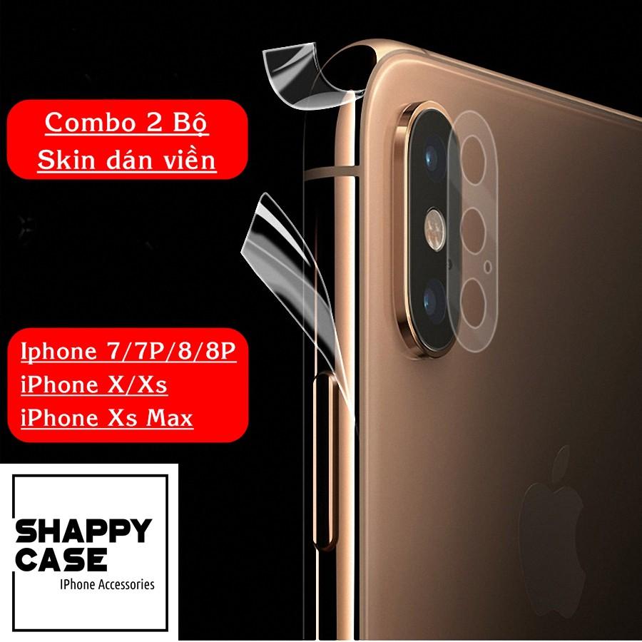 FREESHIP 99K_[COMBO 2 BỘ] Skin Dán Viền Trong Suốt Iphone 7/8/X/Xs/Xr/XsMax [Shappy Case]