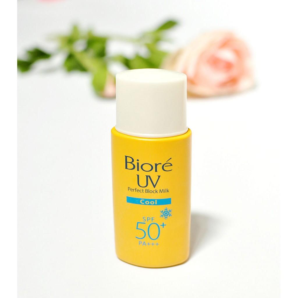 Sữa Chống Nắng Mát Lạnh Bạc Hà Bioré UV Perfect Protect Milk Cool SPF50  PA+++ 25ml | Shopee Việt Nam