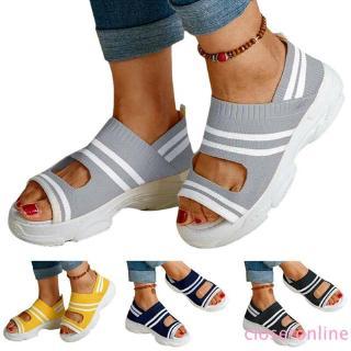Giày Sandal Đế Xuồng Họa Tiết Kẻ Sọc Thời Trang Mùa Hè Cho Nữ