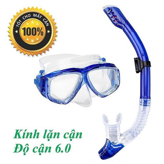 Mặt nạ lặn Ống thở, CẬN 6.0 độ, mắt KÍNH CƯỜNG LỰC - ống thở ngăn nước POPO Collection (Xanh Biển)