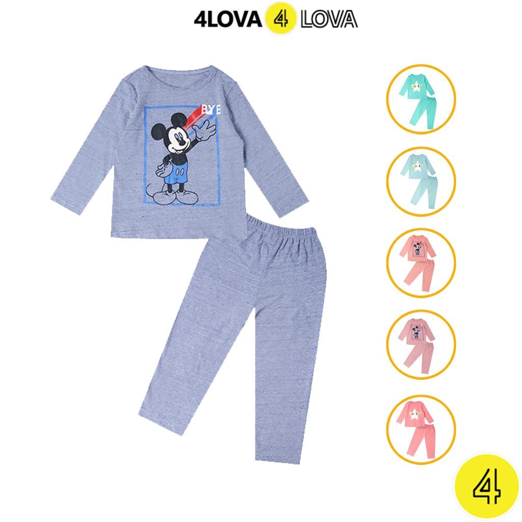 Bộ quần áo cotton thun dài tay 4LOVA cho bé trai bé gái họa tiết ngôi sao và mickey BT&BG-BT
