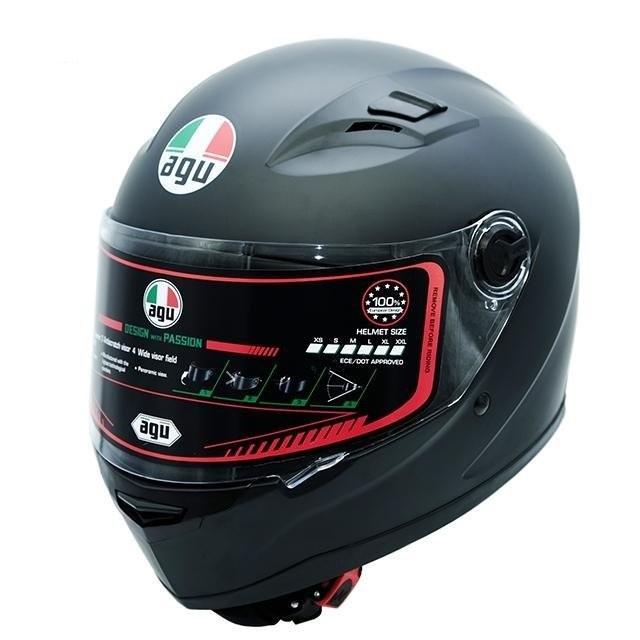 Nón bảo hiểm Fullface AGU đen nhám (chính hãng) - Kính khói