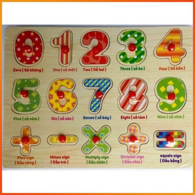 [GIÁ RẺ VÔ ĐỊCH] – Bảng số cộng trừ nhân chia có núm cho bé