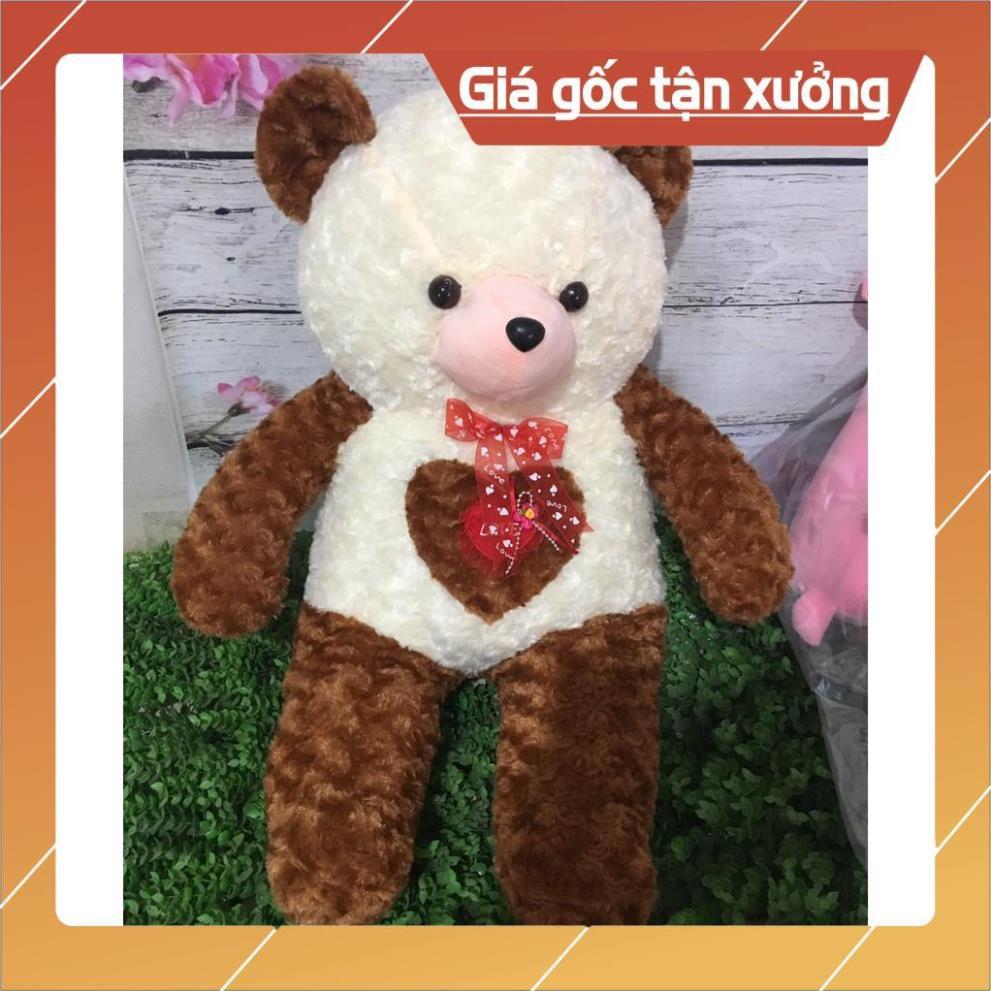 Gấu bông vá nâu trắng 80CM vá tim và nơ trước ngực cực đẹp