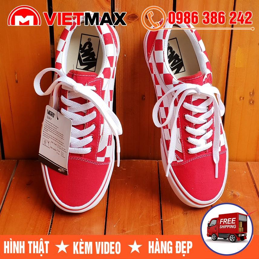 ⚡[FREE SHIP] Giày Vans Caro Đỏ Trắng Nam Nữ
