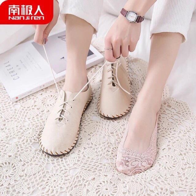 Sét 10 Đôi Vớ Ren Nữ Hàn Quốc Đi Giày Búp Bê Giày Lười