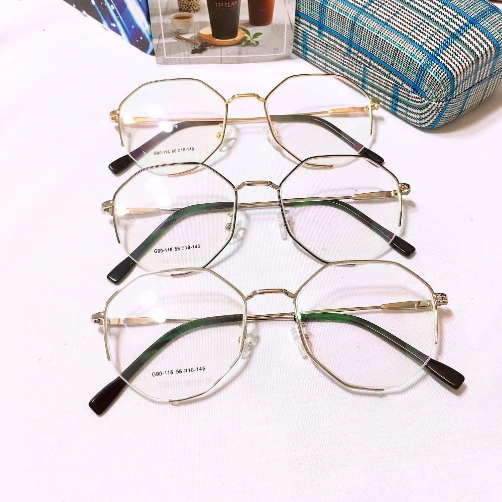 Kính cận lục giác g90-116 -gọng kính giả cận thời trang nhận cắt mắt cận viễn loạn