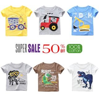 Áo thun bé trai TrueKids áo phông họa tiết động vật, xe chất cotton 100% 4 chiều Hàng Xuất Âu Mỹ