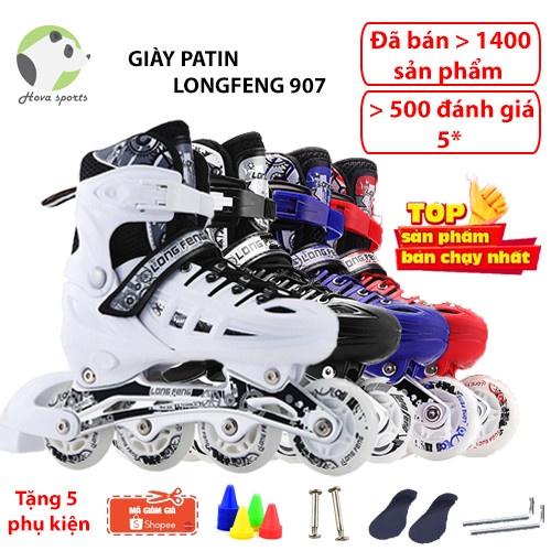 Giày trượt patin Longfeng 907-906 cao cấp tặng 5 phụ kiện lót giày + ốc vít + chướng ngại vật batin batanh 905