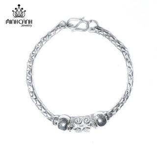 Lắc Bạc Trẻ Em Dây Tròn Mix 2 Bi Bạc - Minh Canh Jewelry