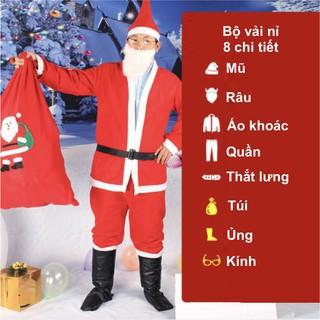 Bộ quần áo ông già Noel hay bộ trang phục noel người lớn vải nỉ 8 chi tiết