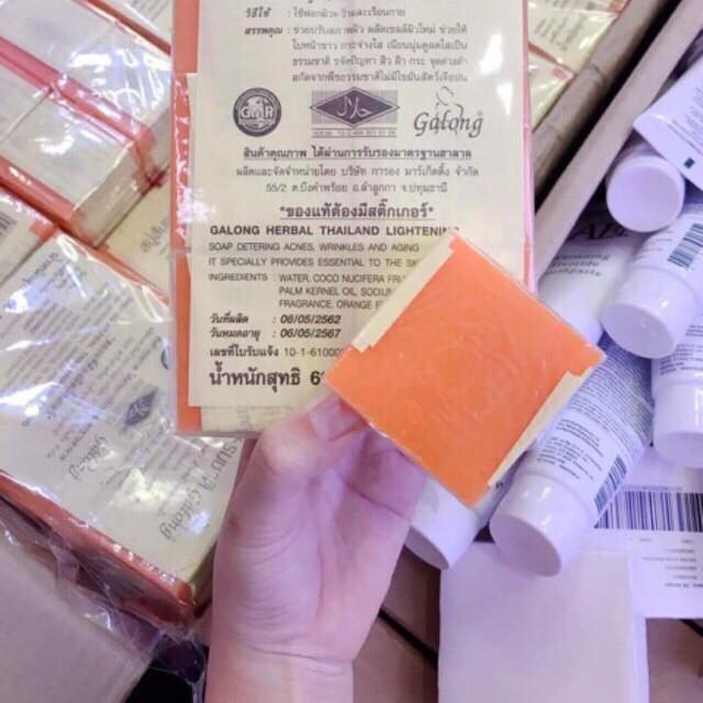 Xà Phòng Nghệ Cam Thái Lan 50g ⭐ FREESHIP ⭐ > Lố 12 bánh < Dưỡng Trắng Da