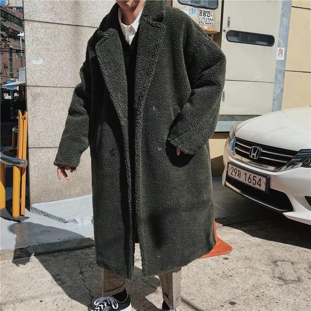 [Simonroom] Khoác Lông Cừu Dáng Dài Ulzzang Unisex Big Size - Áo cổ trụ