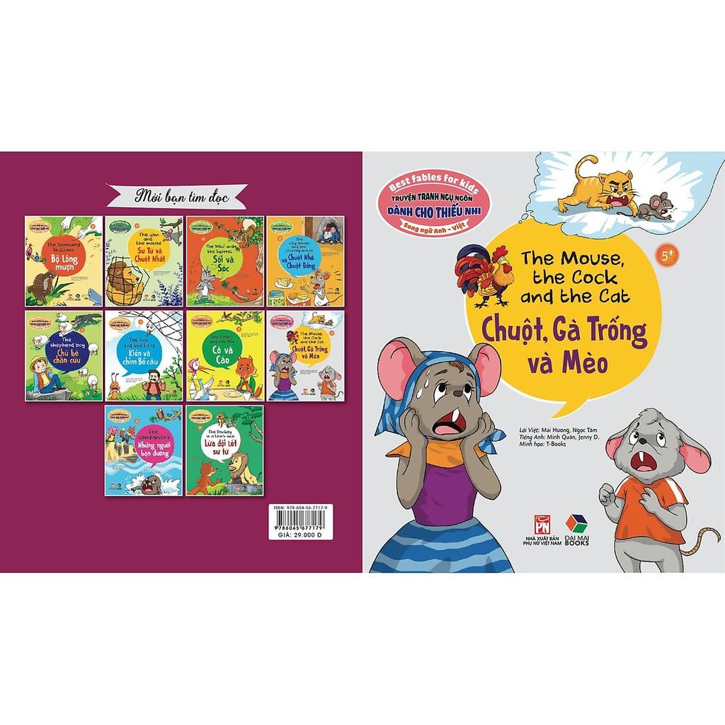Sách - Truyện tranh ngụ ngôn dành cho thiếu nhi ( song ngữ Anh- việt ) chuột gà trống và mèo