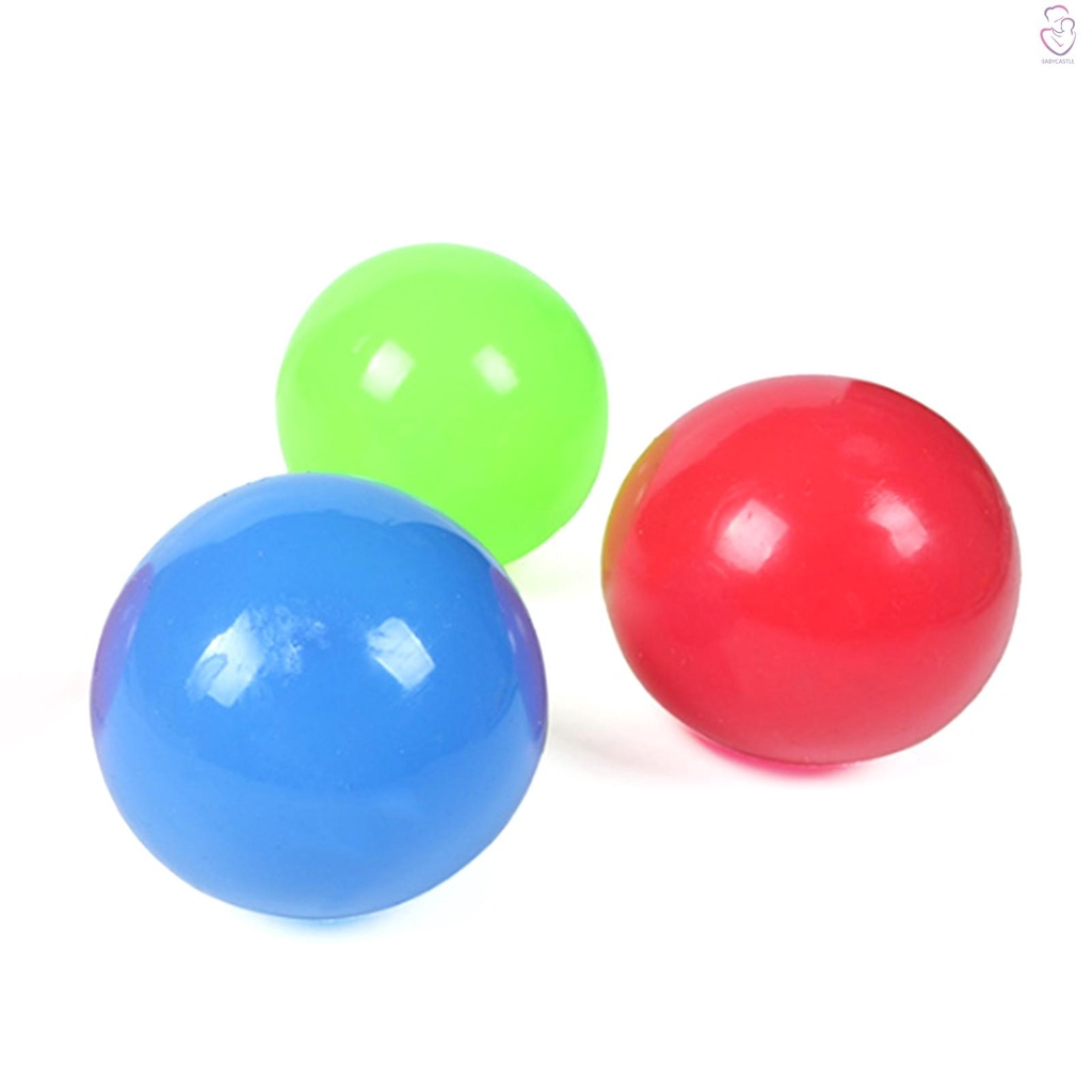 Fluorescerende Sticky Target Balls 2 Large Balls + 1 Small Ball Stress Reliever Decompression Kid Toy