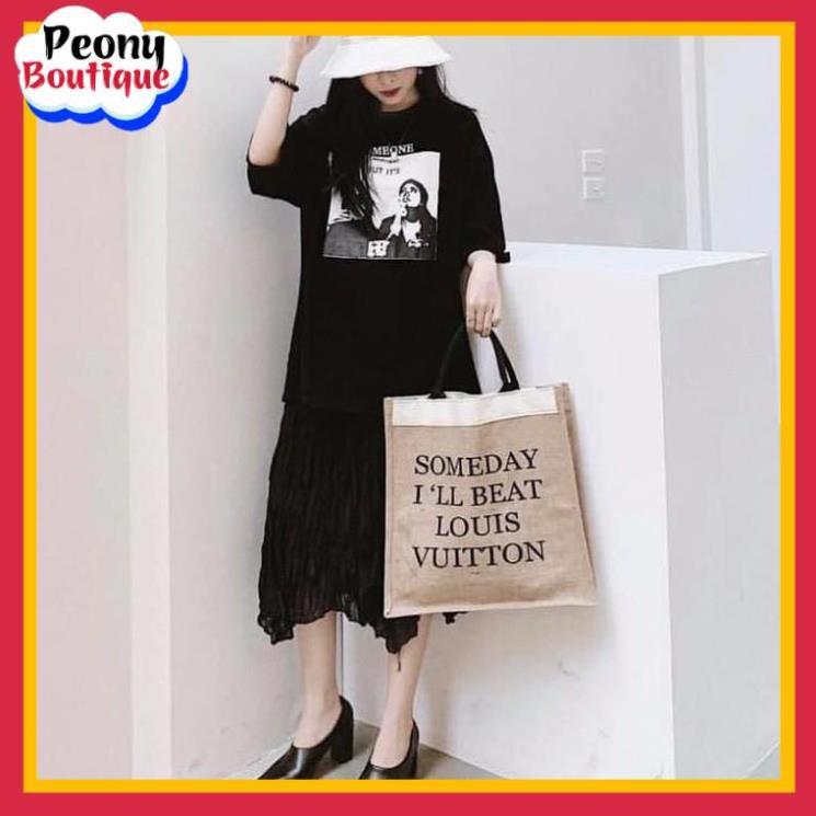 Túi Xách Cói Merci Nữ 🌸 Túi đeo chéo tote cài khuy in chữ đen canvas vải màu be phối da ulzzang SIÊU HOT 🌸