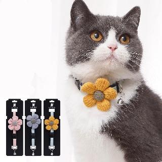 Vòng cổ chuông cho mèo thắt lơ hoa cúc dệt vải dù full màu thumbnail