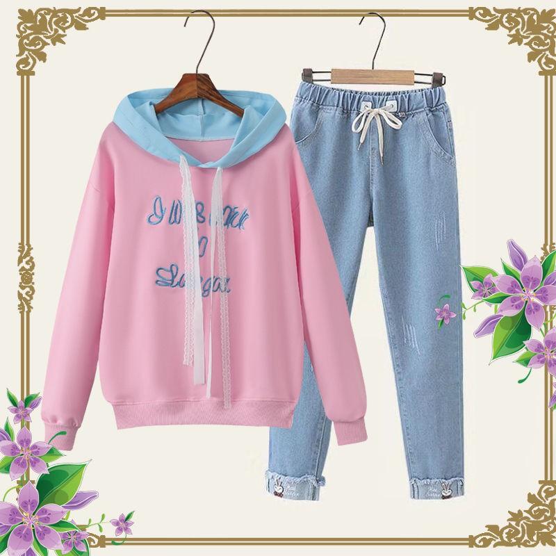Học sinh trung nữ trang phục mùa xuân và thu, quần jean tính áo len hai mảnh thể thao giản dị cho thanh thiếu niên