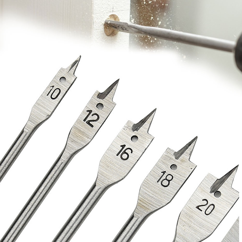 6pcs/set Paddle Woodworking Flat Cutter Spade With Hex Shank Tapper Hand Hole Tricuspid Drill Bit Wood Boring