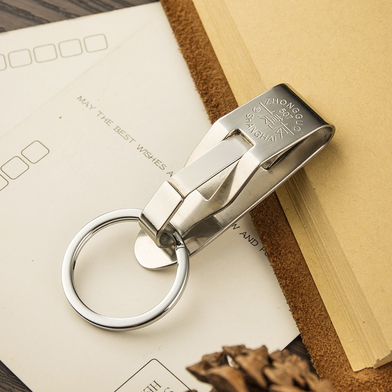 Boyou สแตนเลสผู้ชายเอวพวงกุญแจสวมใส่เข็มขัดเข็มขัดแหวนพวงกุญแจพวงกุญแจรถสร้างสรรค์