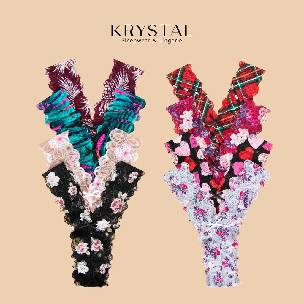 Quần lót ren lọt khe chữ Y sexy gợi cảm màu họa tiết KRYSTAL KQY04