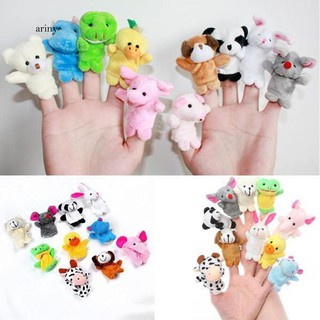 ♞10Pcs Animal Rabbit Dog Pig Finger Puppets Cloth Baby Story Telling Playing Toy
