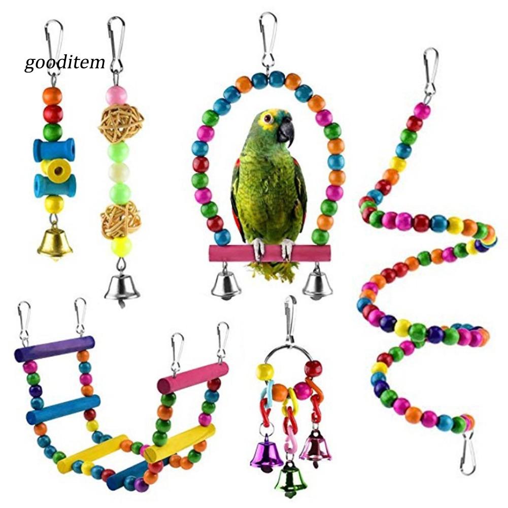 Bộ 6 dây treo đồ chơi gặm nhai cho chim phối chuông trang trí lồng chim vẹt tiện lợi