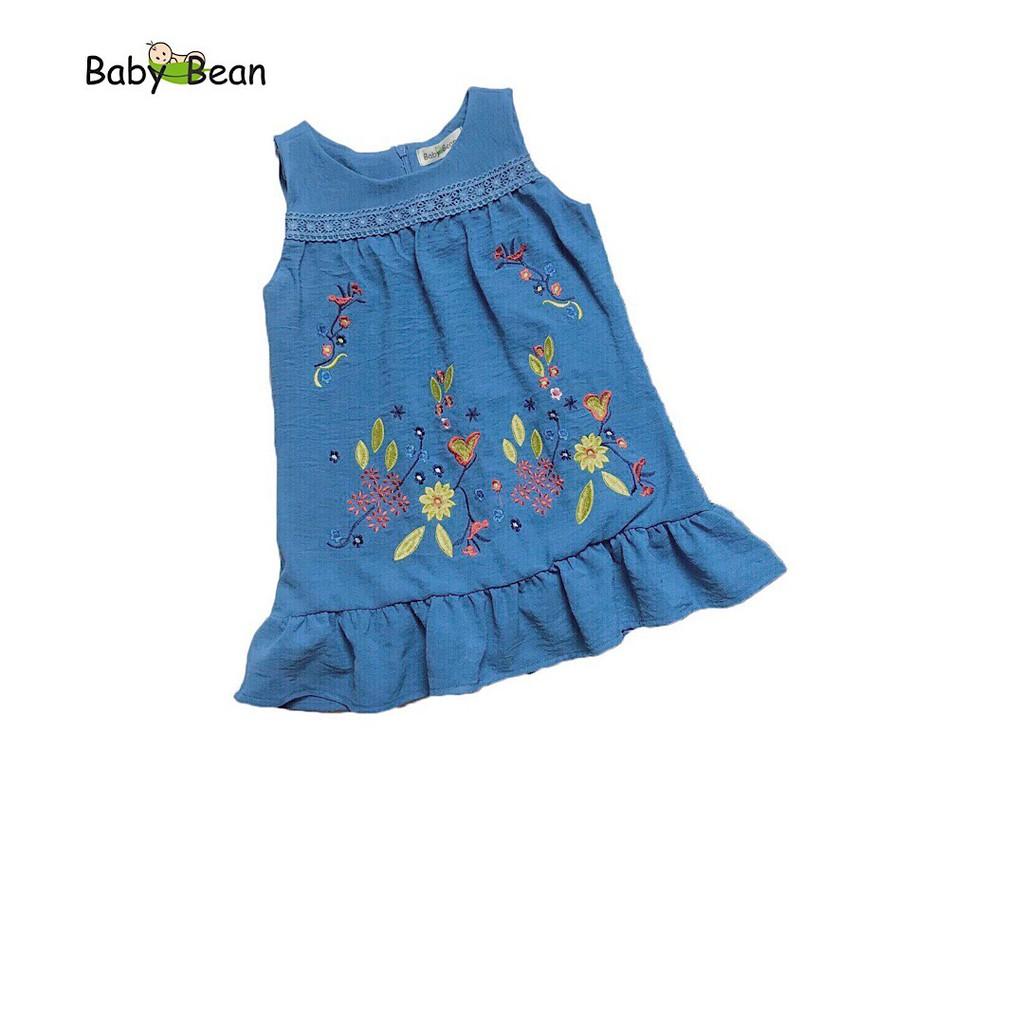 Đầm Đũi Bèo Lai Thêu Hoa Rực Rỡ BabyBean (XANH)